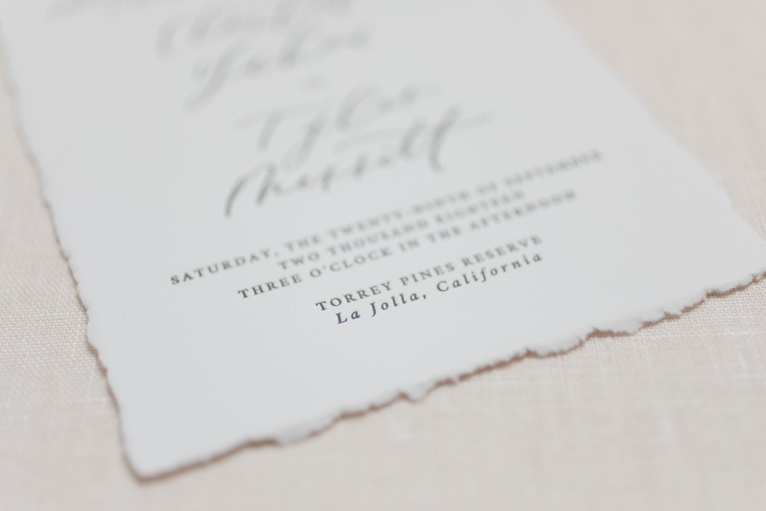 handtorn edges wedding invitations