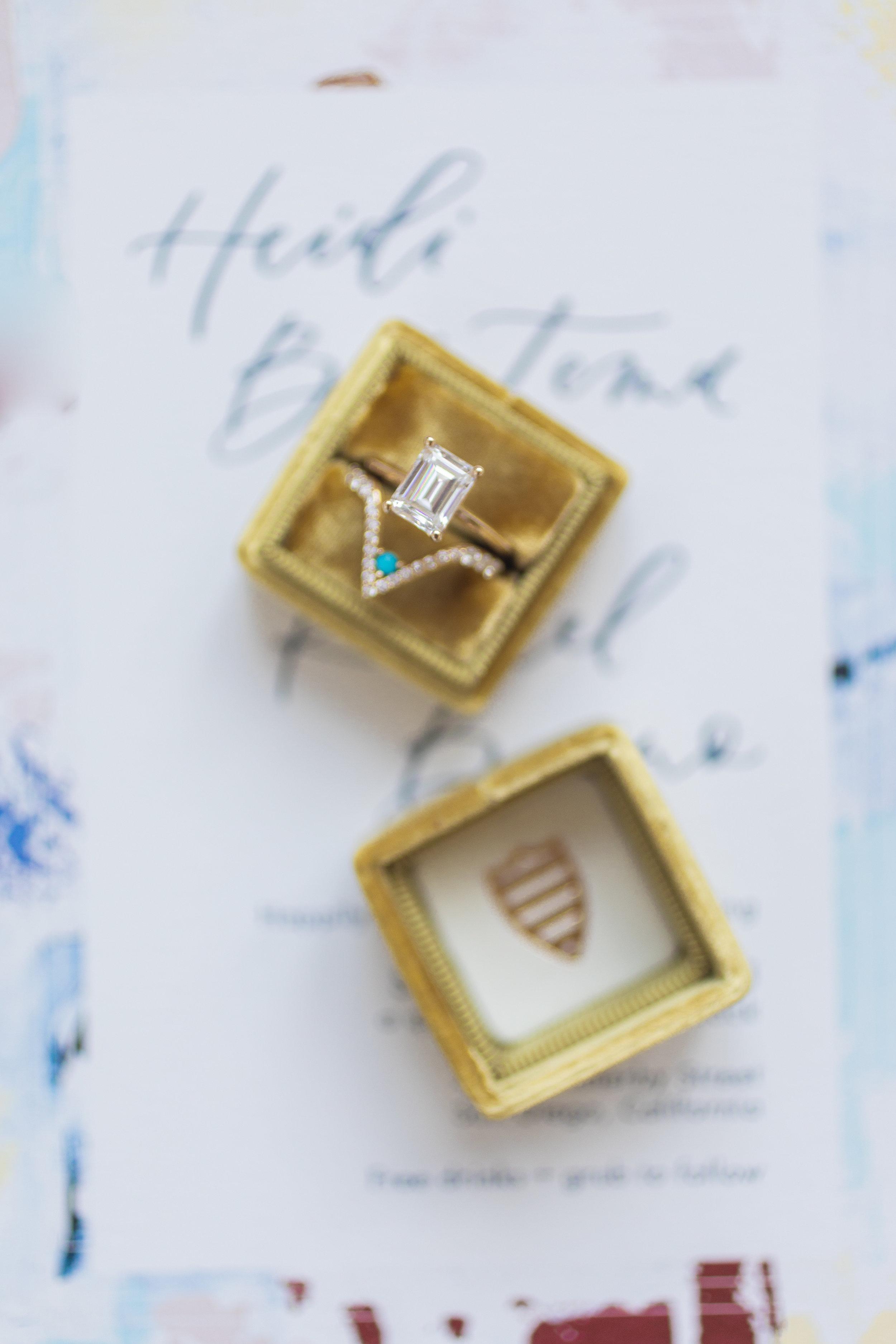 modern wedding ring and ring box