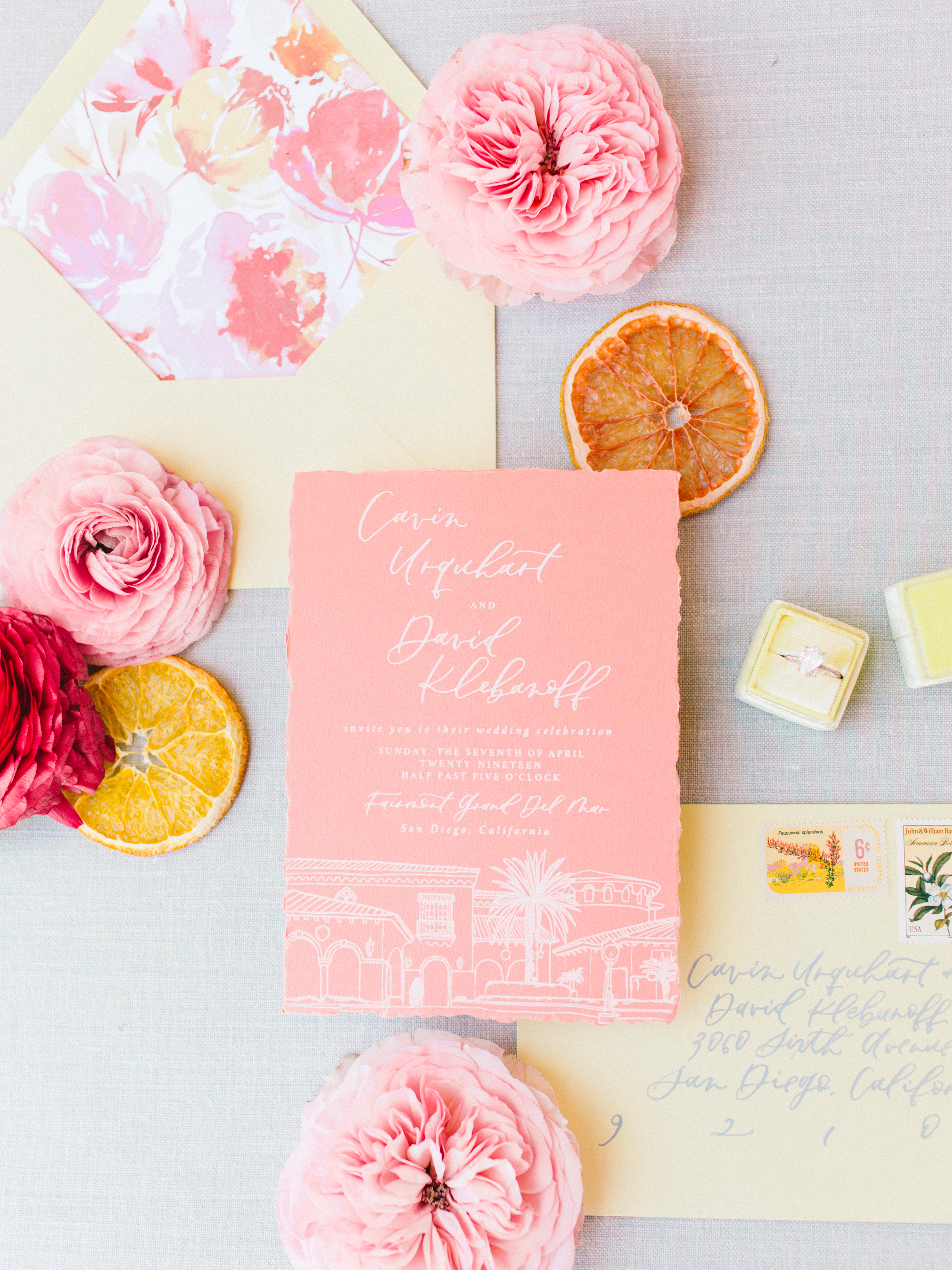 yellow orange wedding invitations