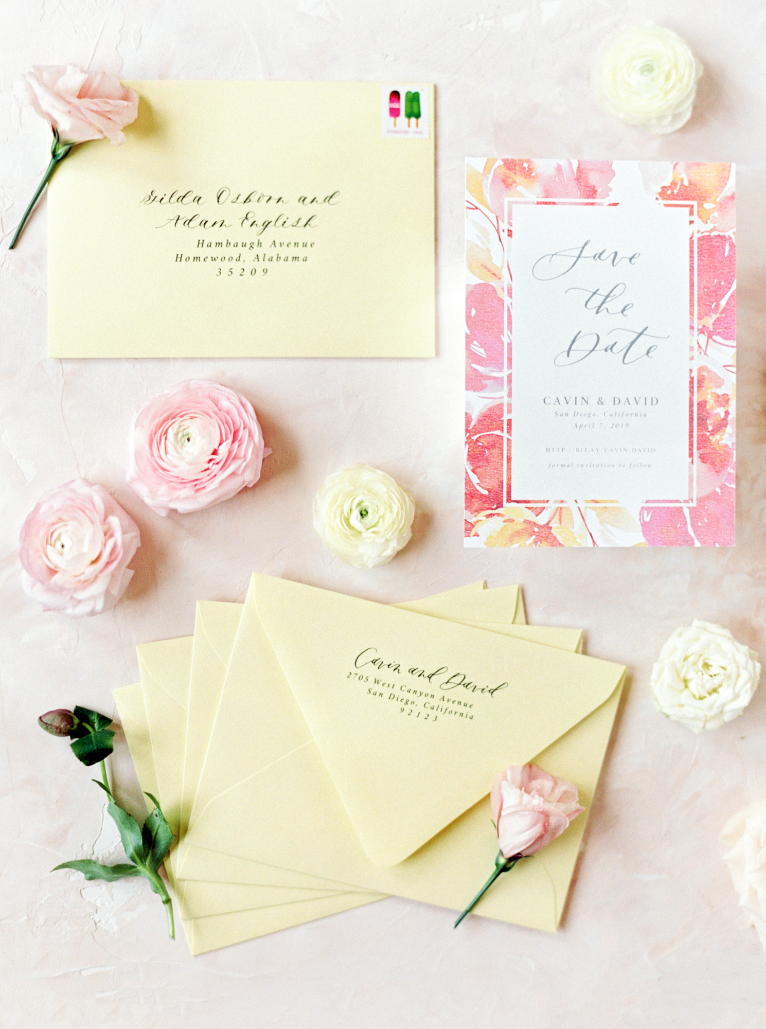 spring wedding save the dates invitations