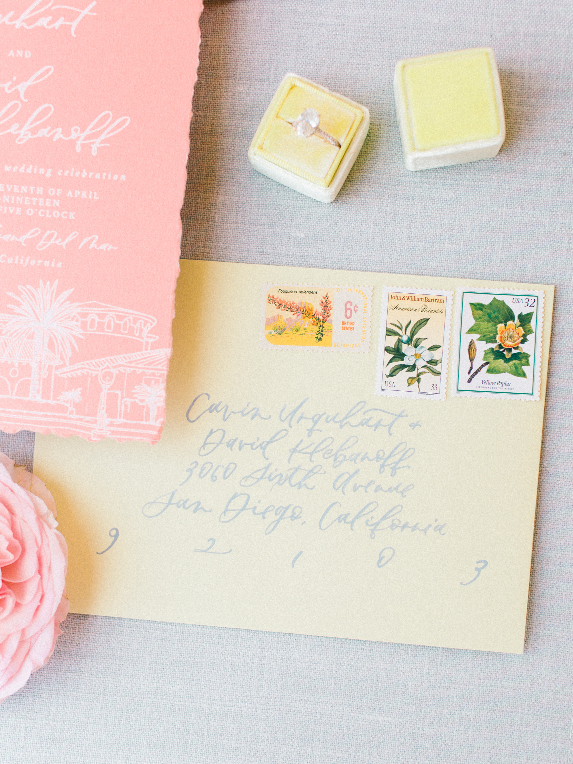 yellow envelope wedding invitation