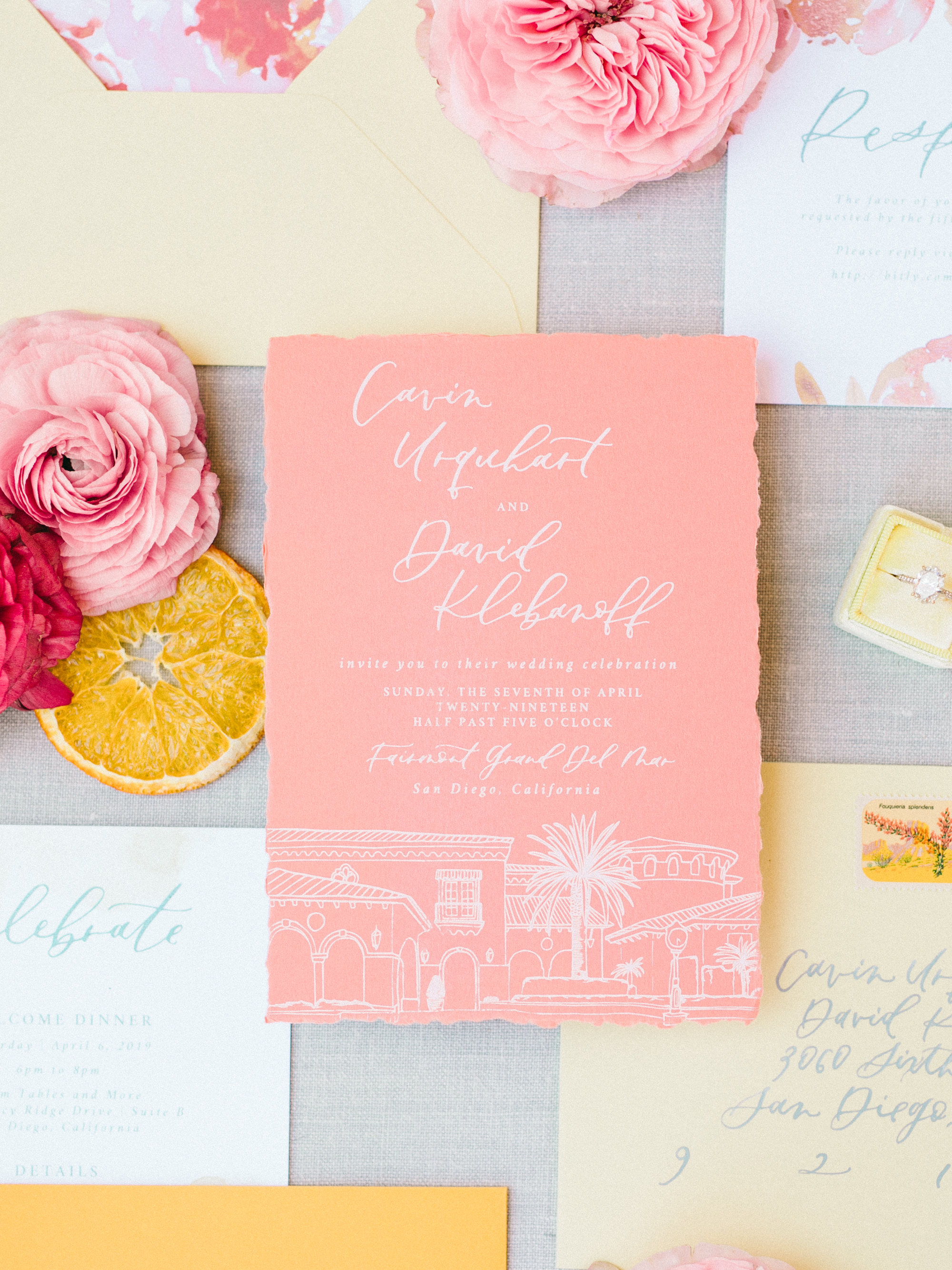 fairmont grand del mar wedding invitations