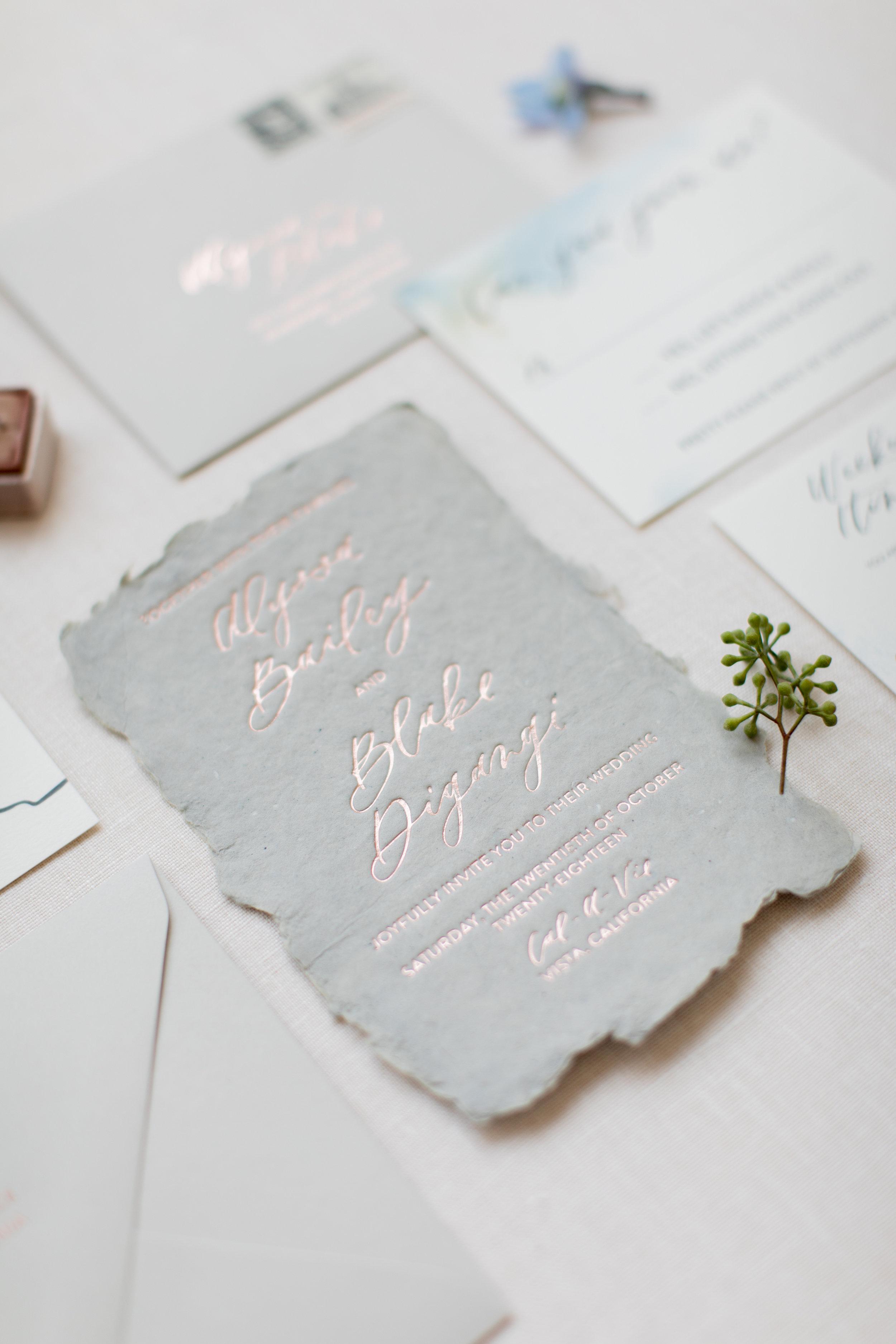 Handmade paper invitations rose gold foil