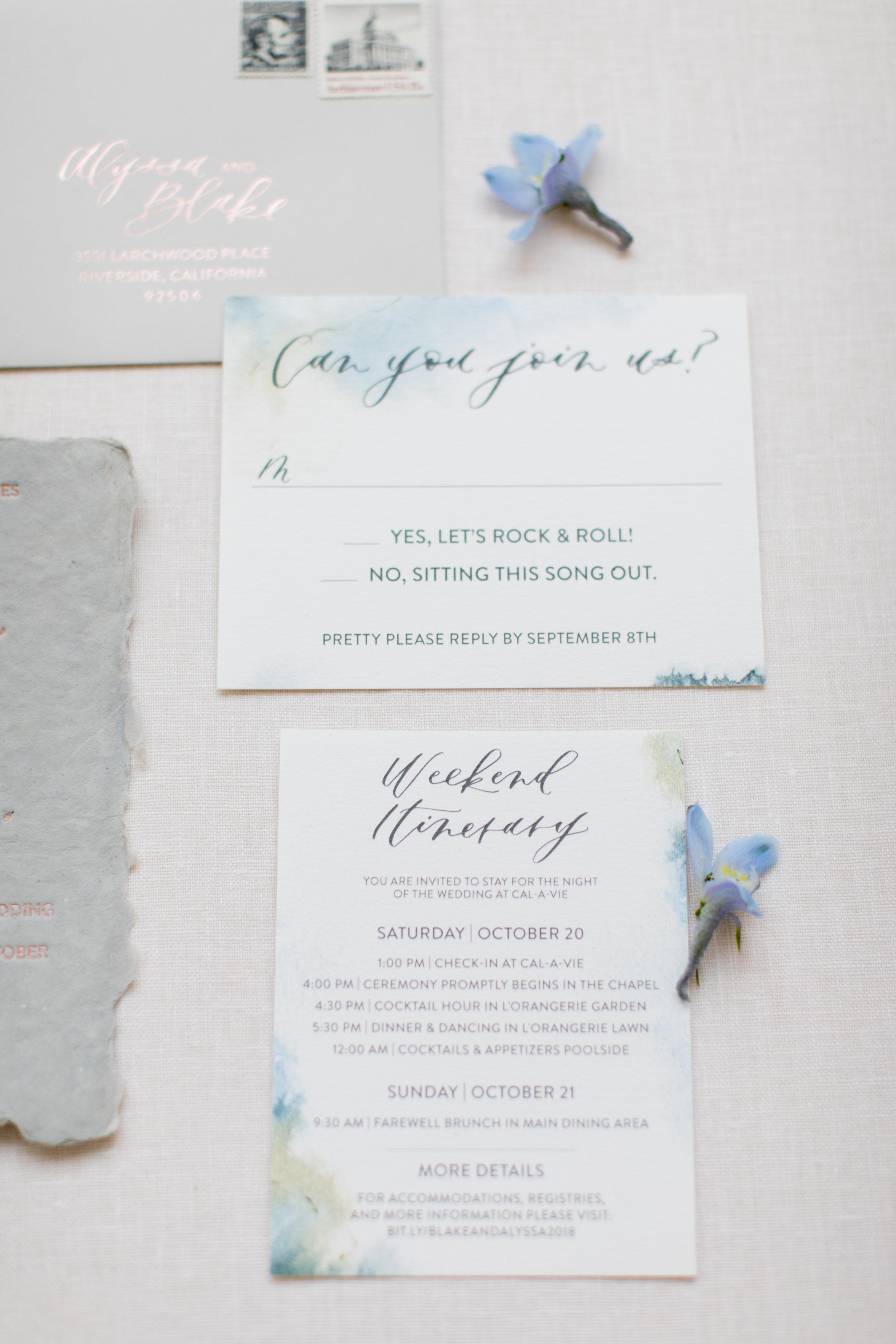 California blue wedding invitations