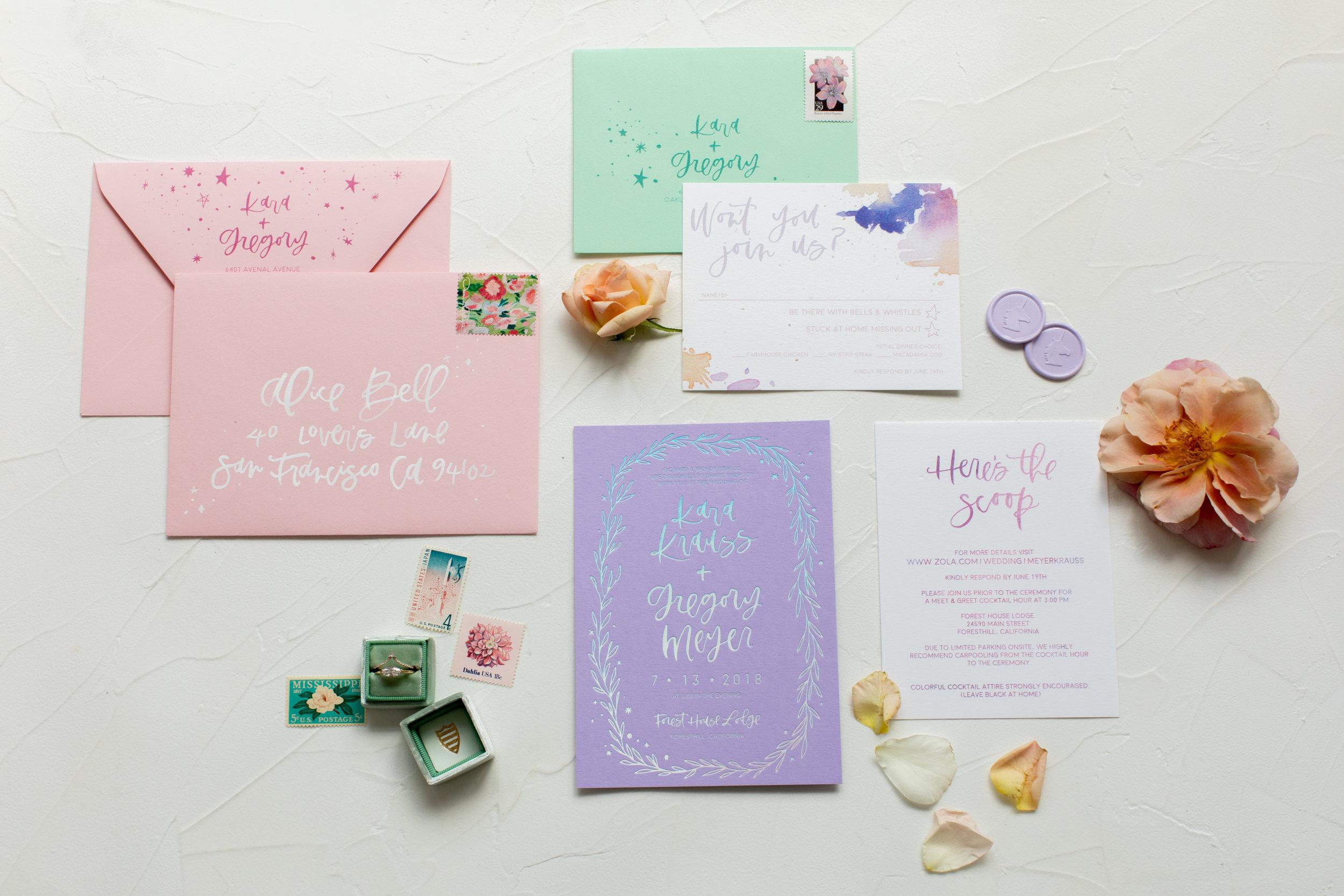 Playful rainbow wedding invitations