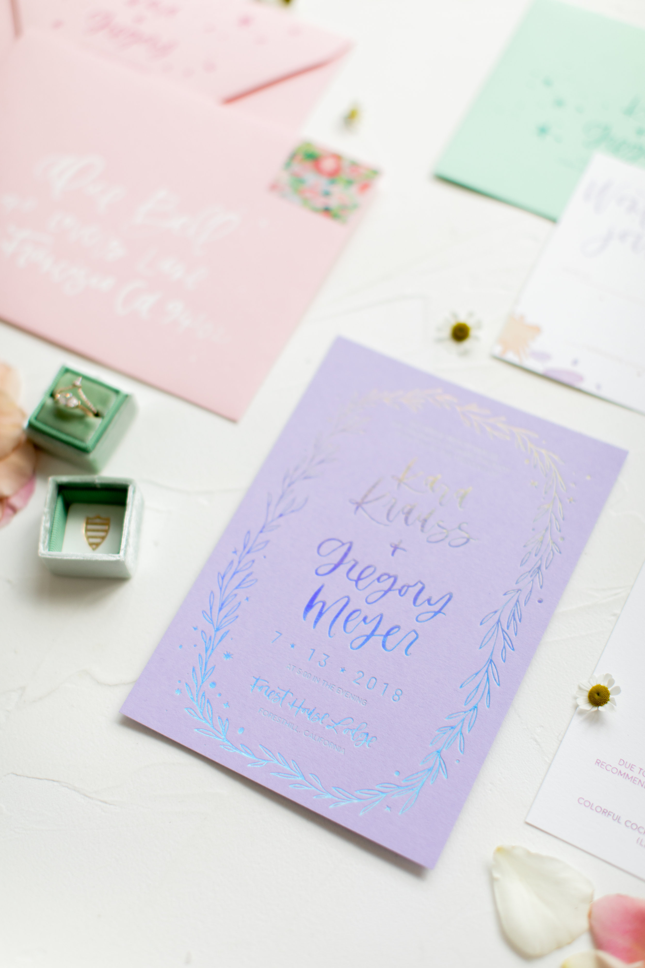 lavender rainbow wedding invitations