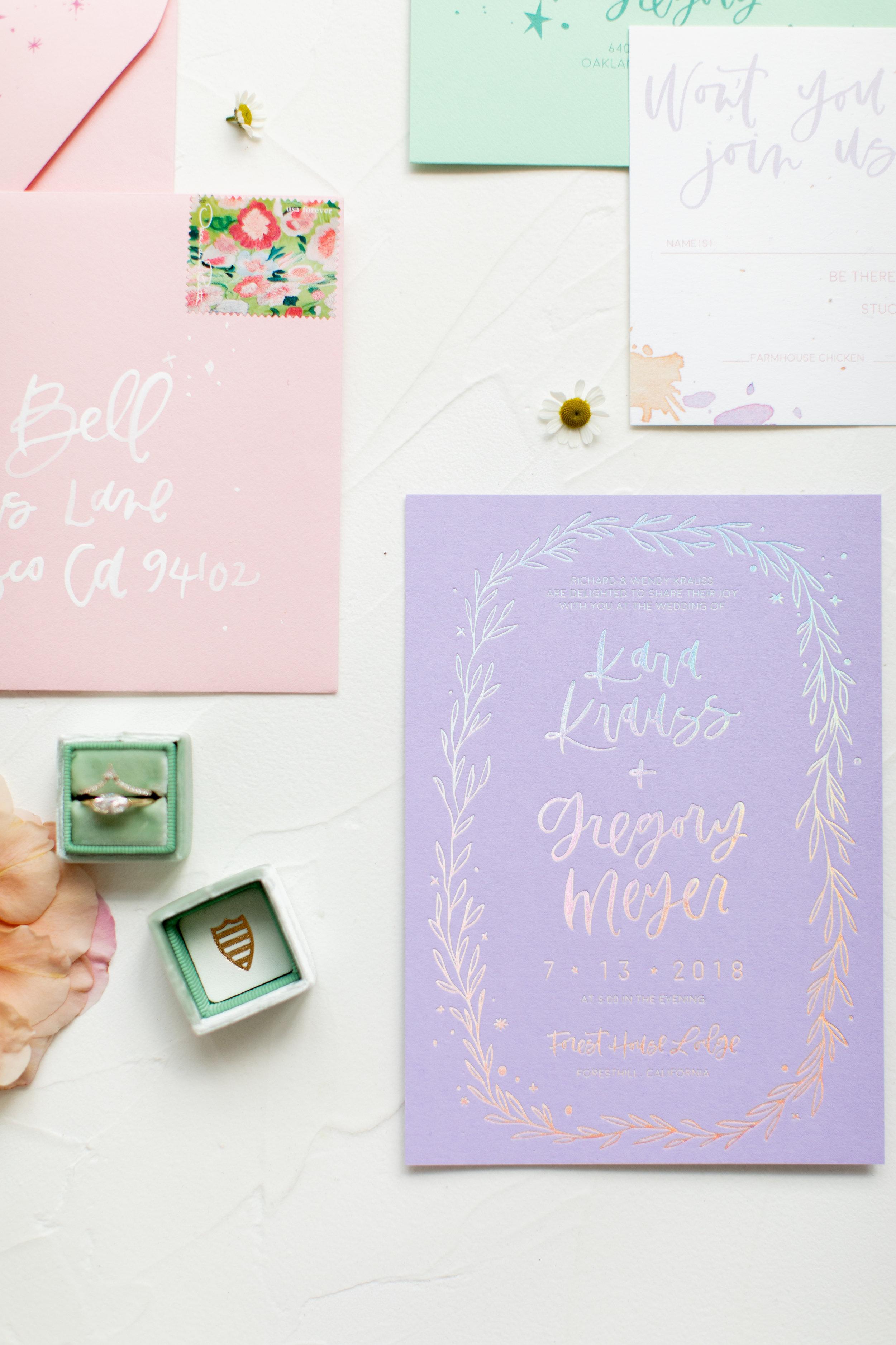 Lavender mint pink wedding invitations