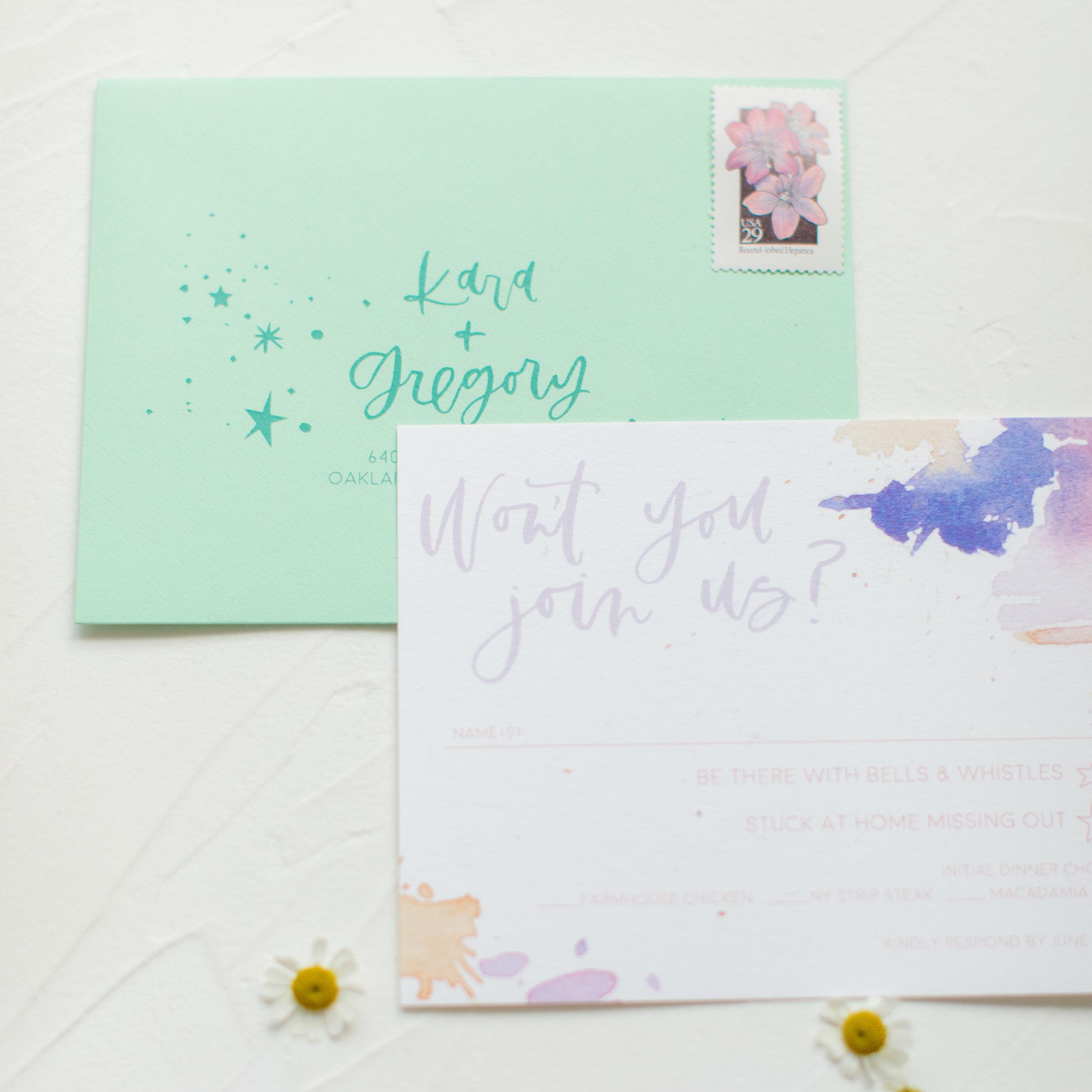 mint and lavender RSVP cards