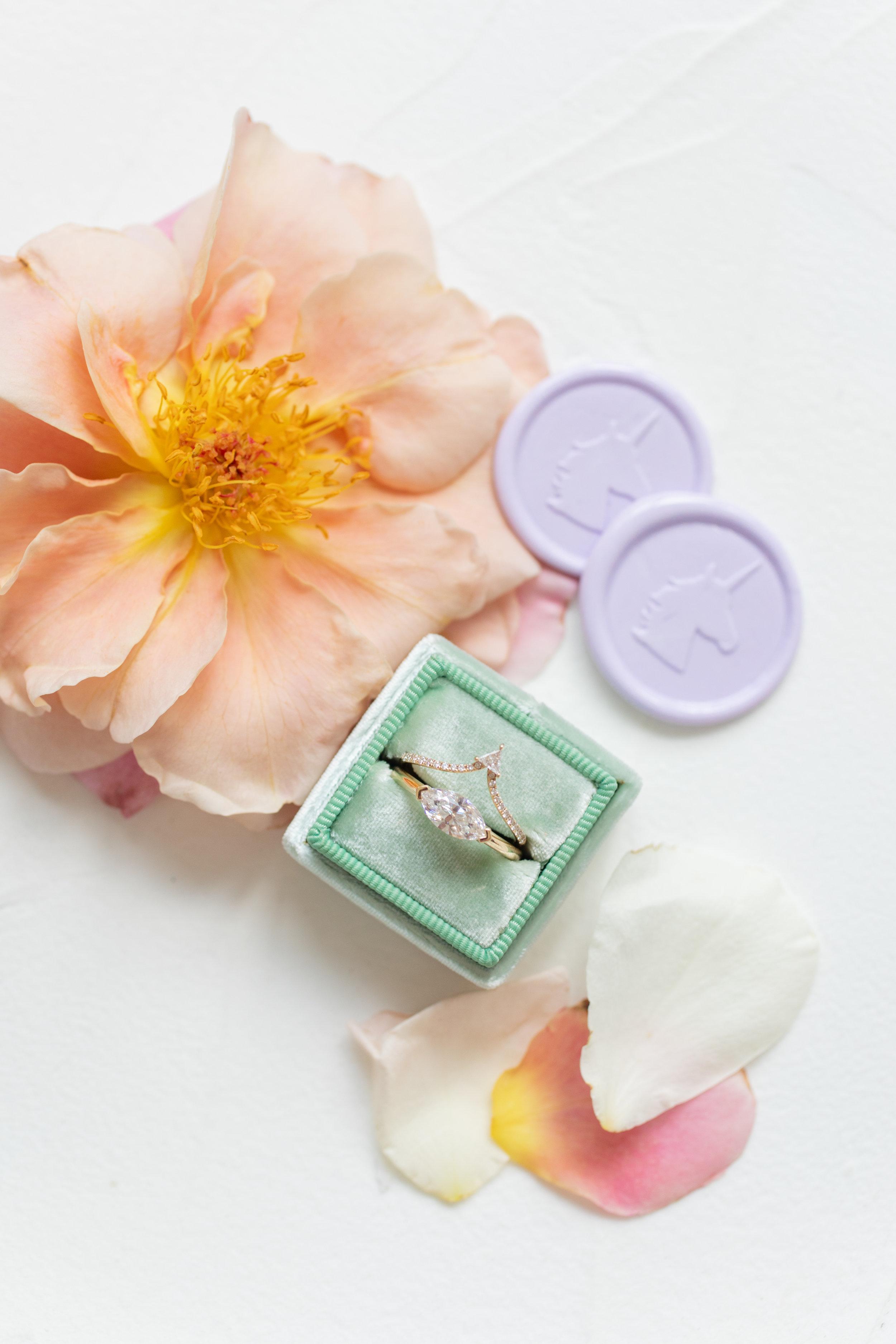 unicorn wax seal and mint ring box