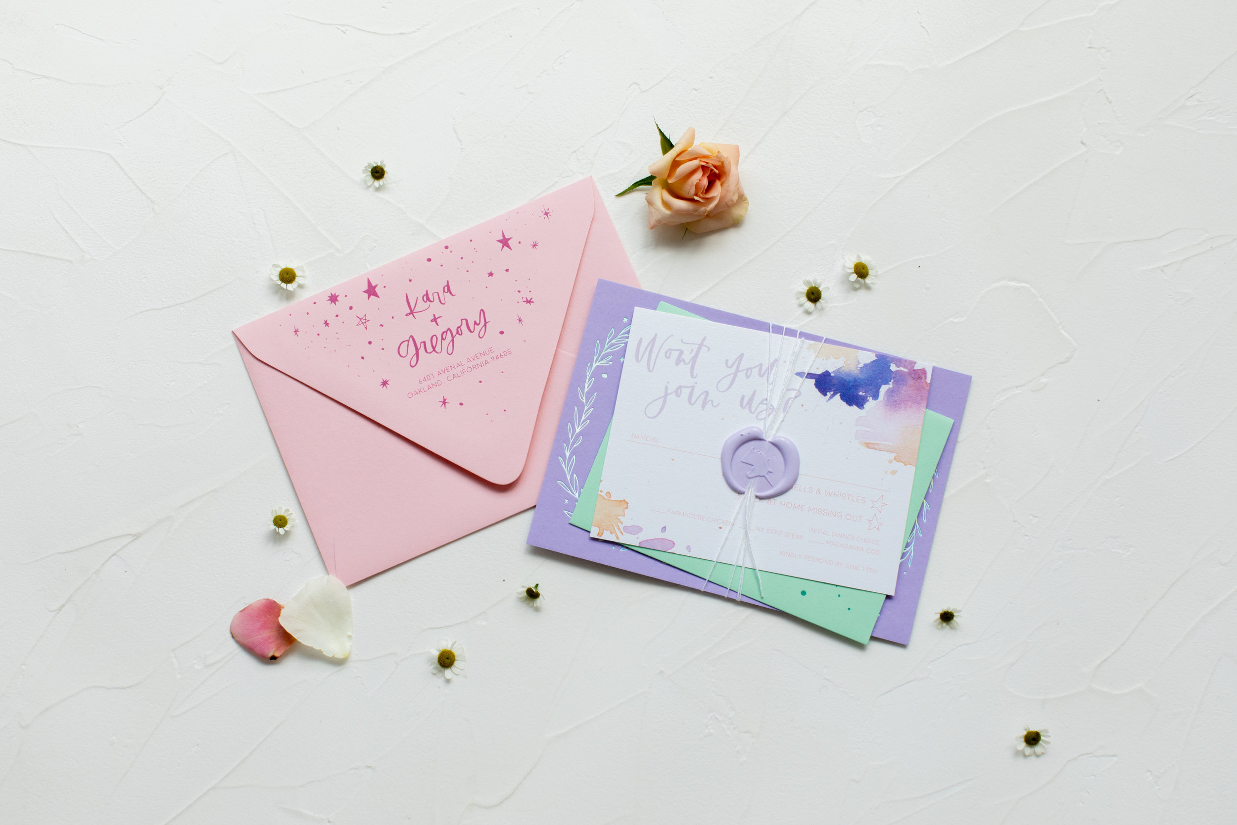 holographic wedding invitations with wax seal
