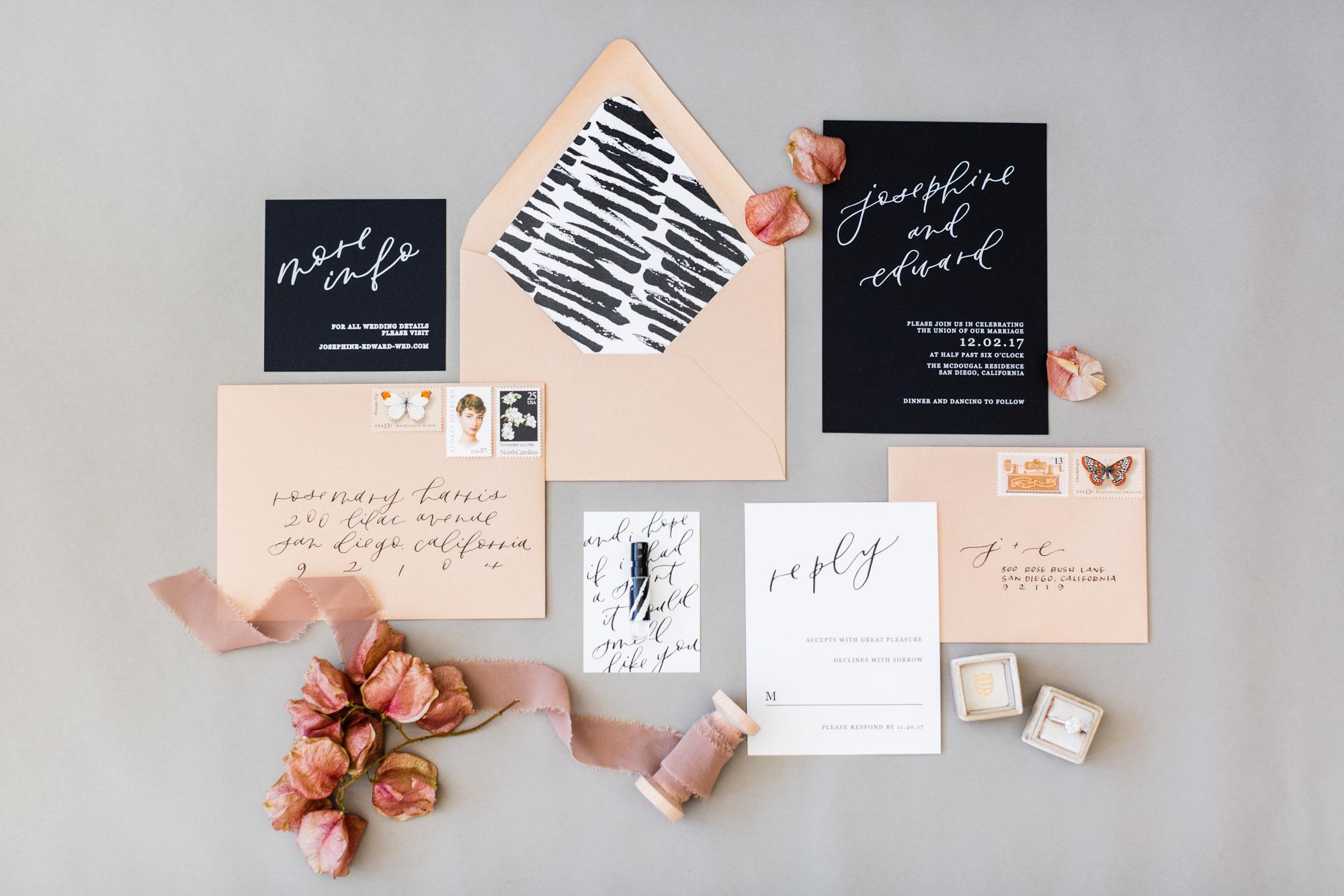 black and nude invitation suite