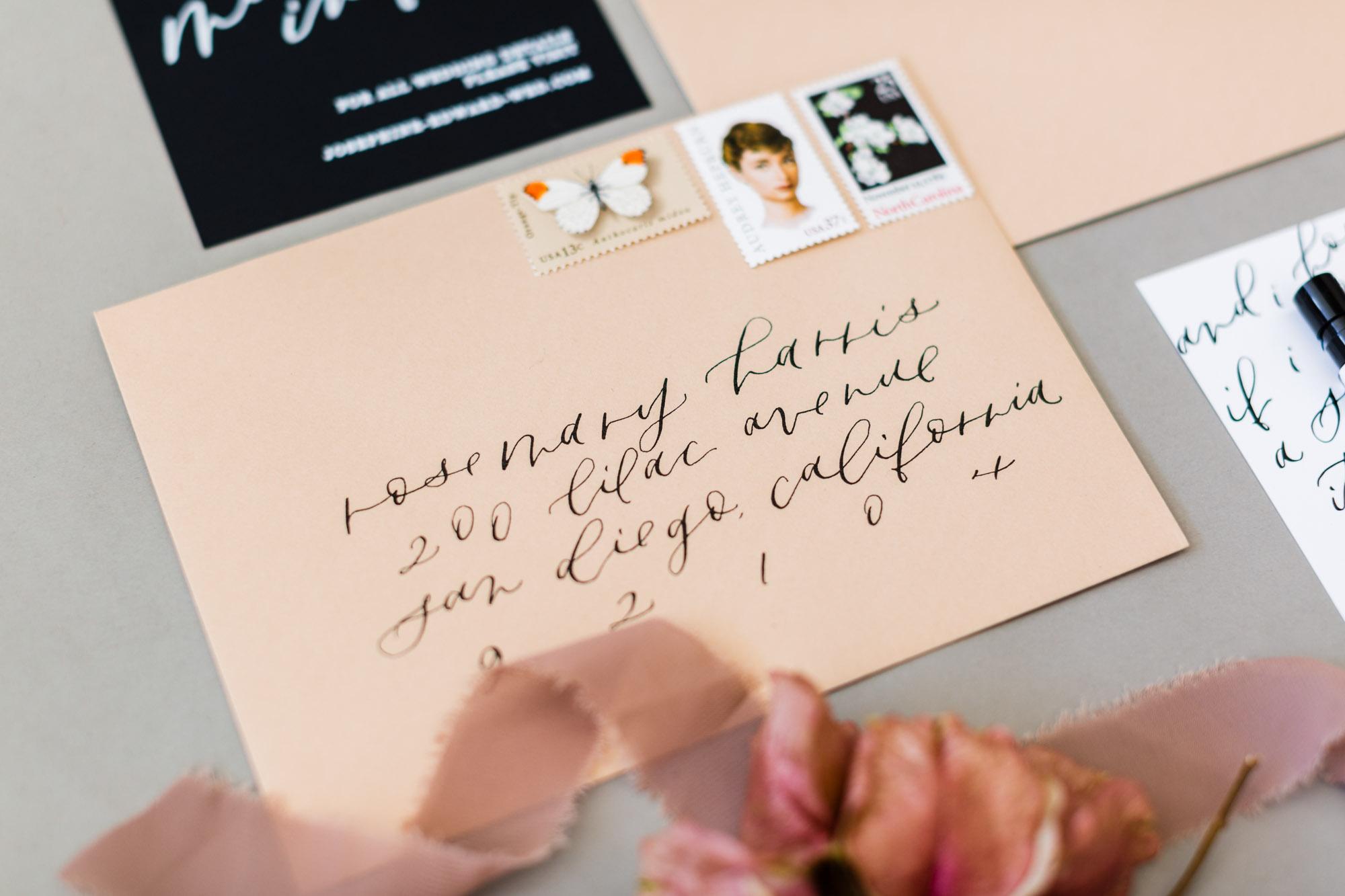 envelope calligraphy on nude envelopes