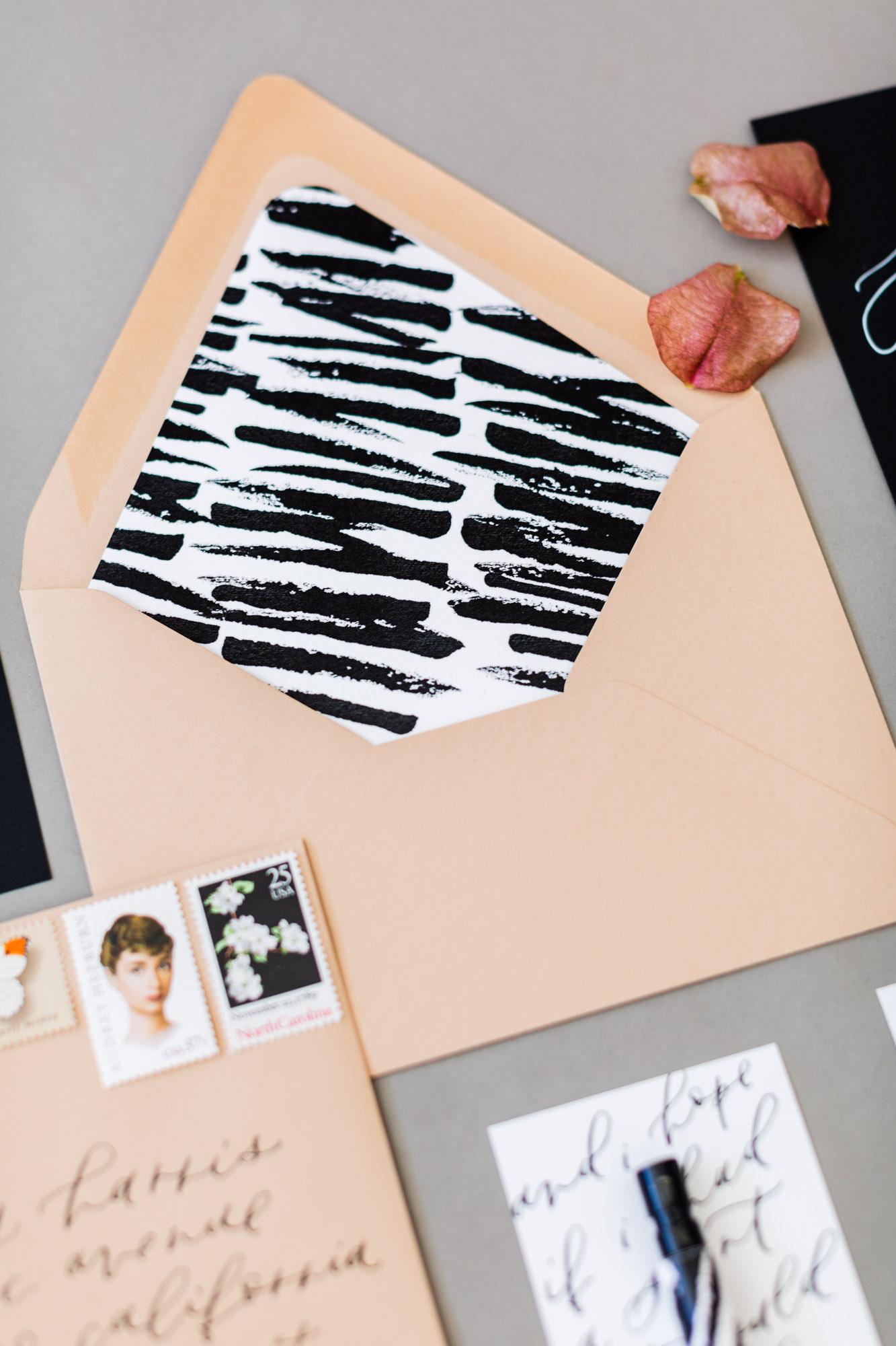 bold black and white envelope liner