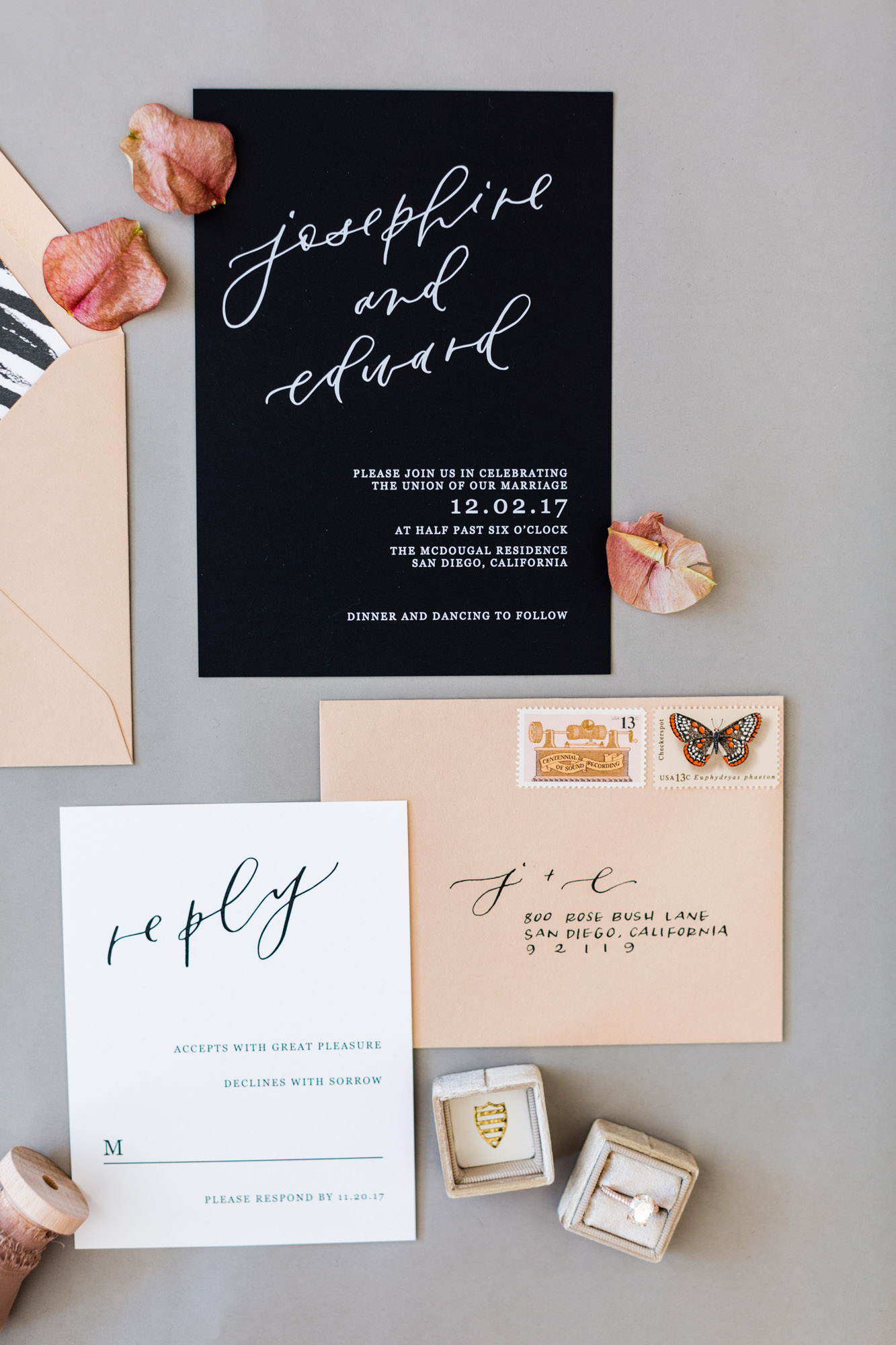 black white nude wedding invitations