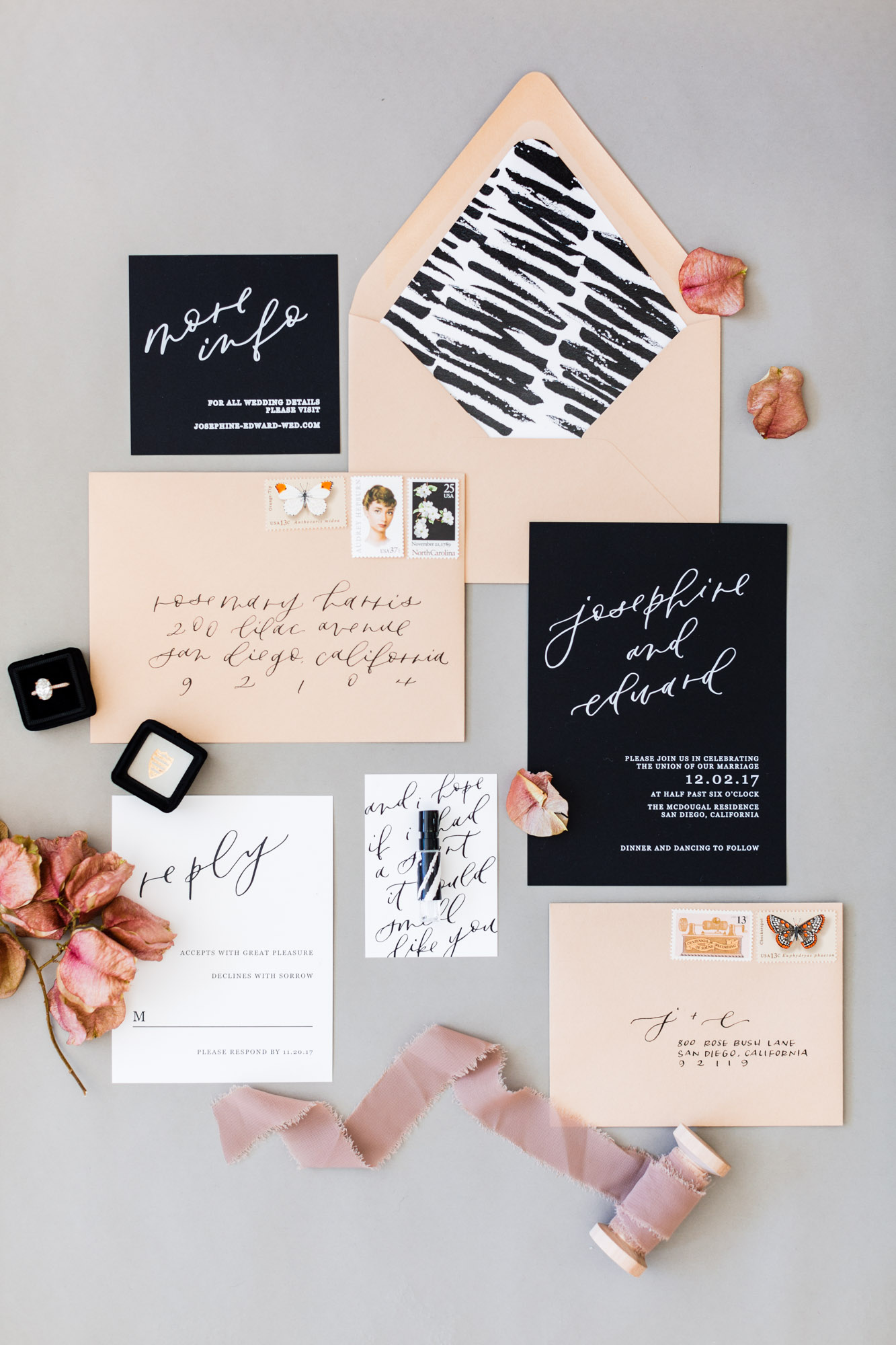 modern black and white invitations