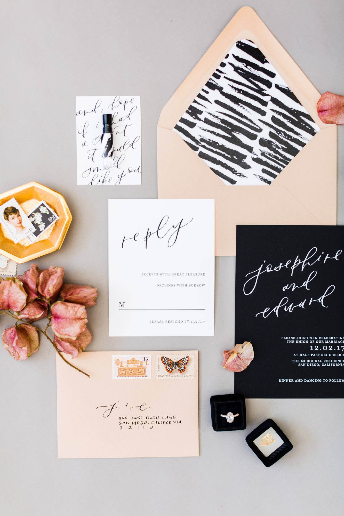 feminine black and white wedding invitations
