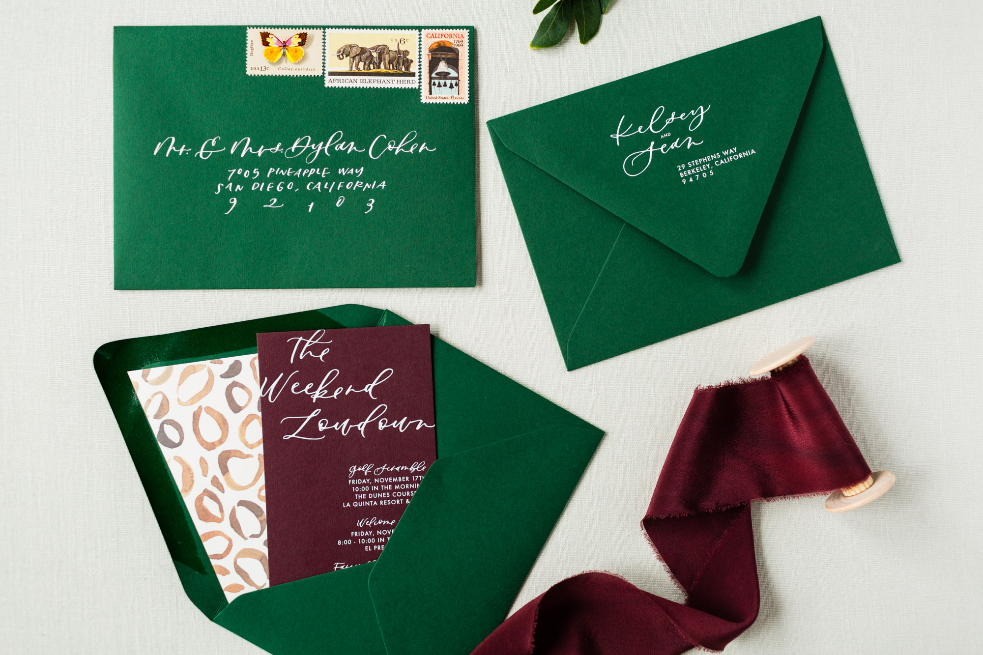 green and burgundy wedding invitations