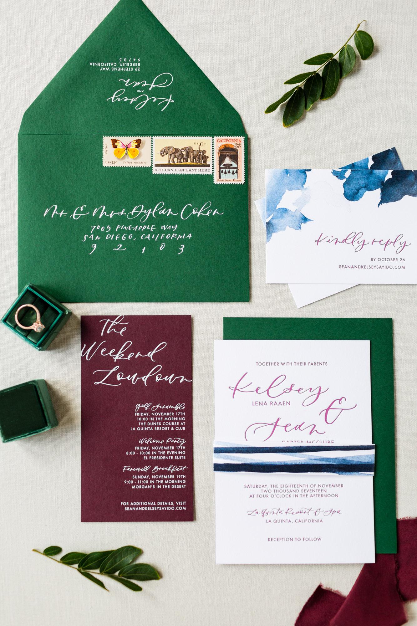 bold palm desert wedding invitations
