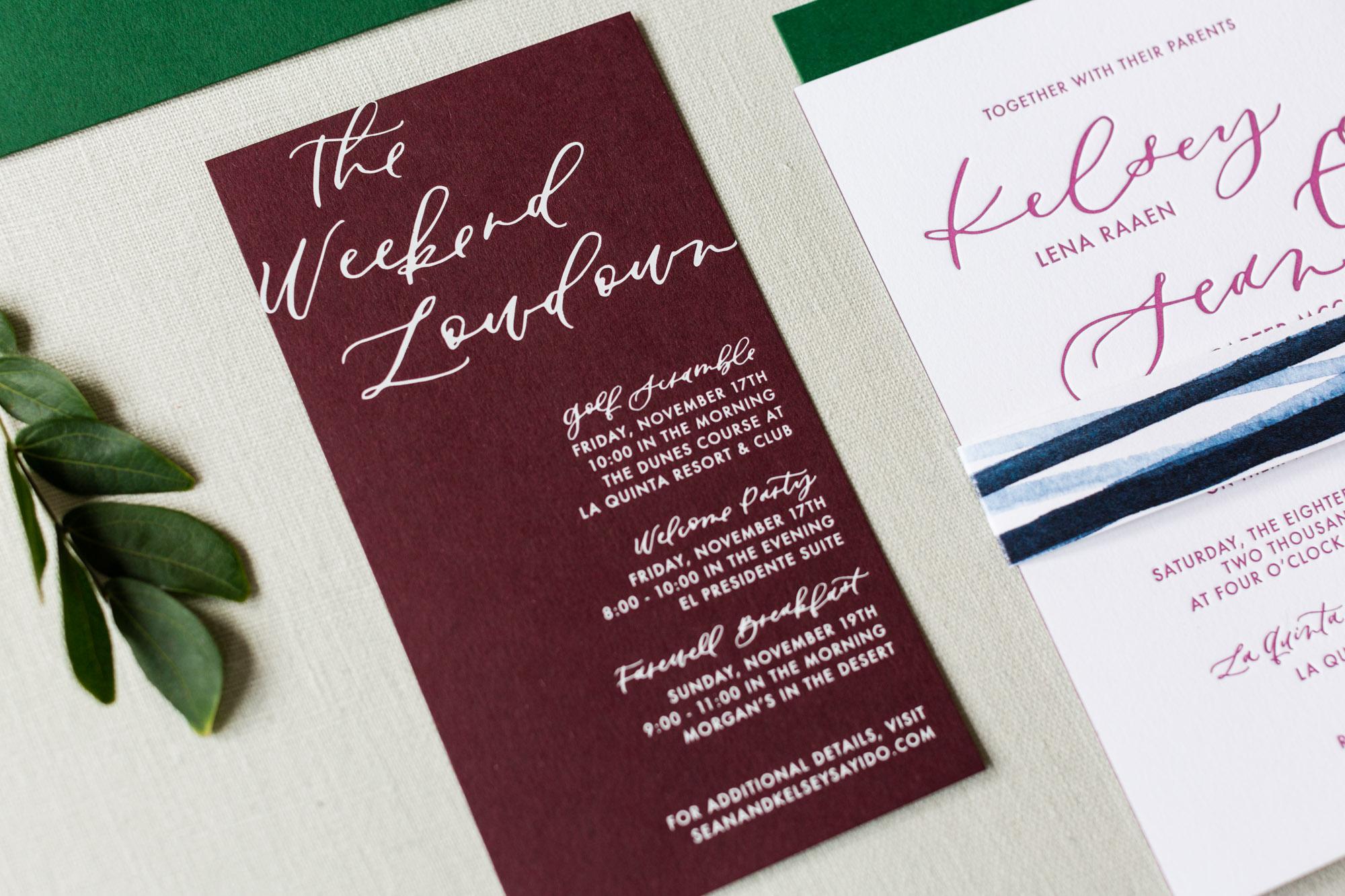 white matte foil on burgundy wedding invitations