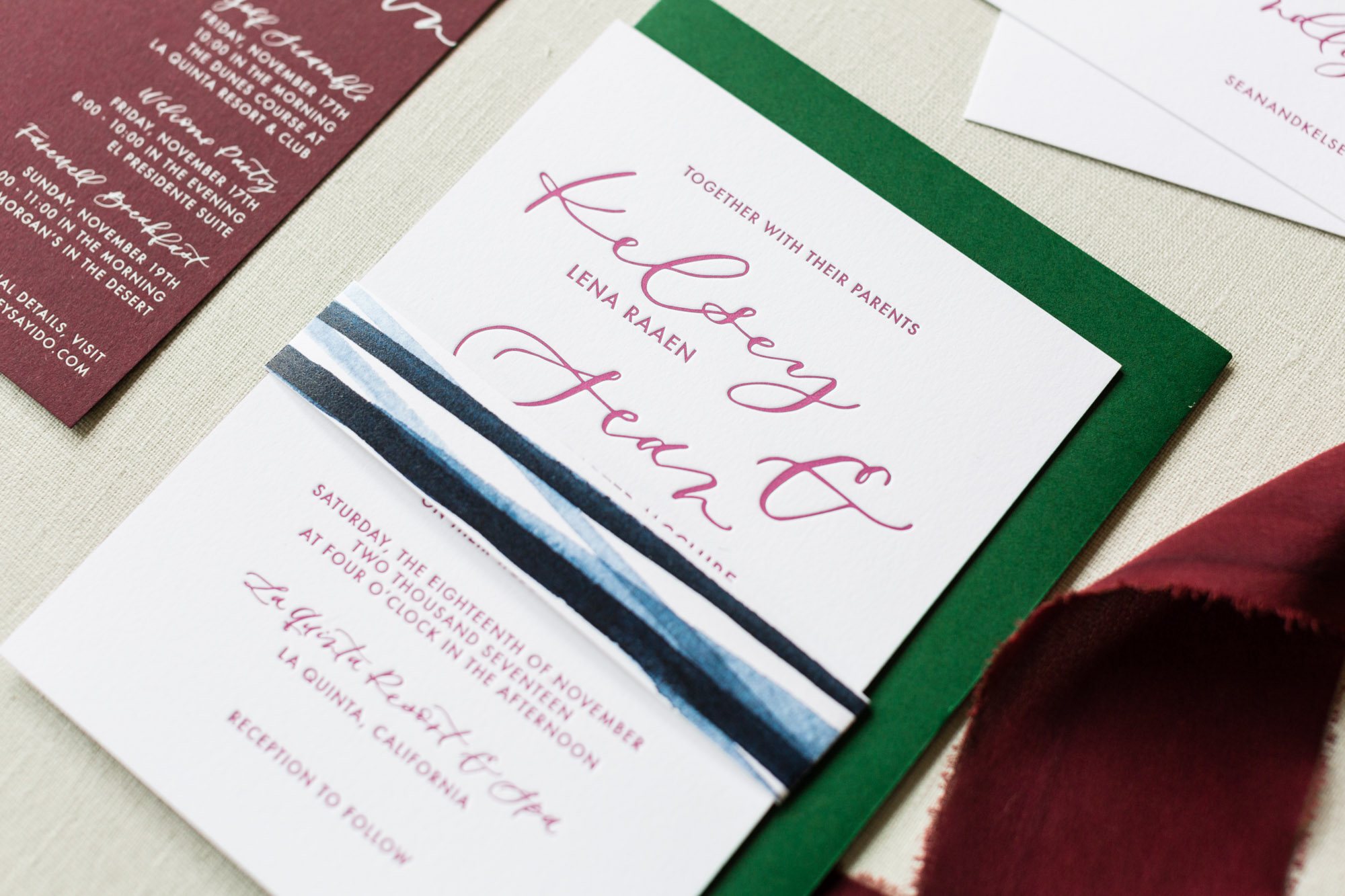 wedding invitations painted belly band