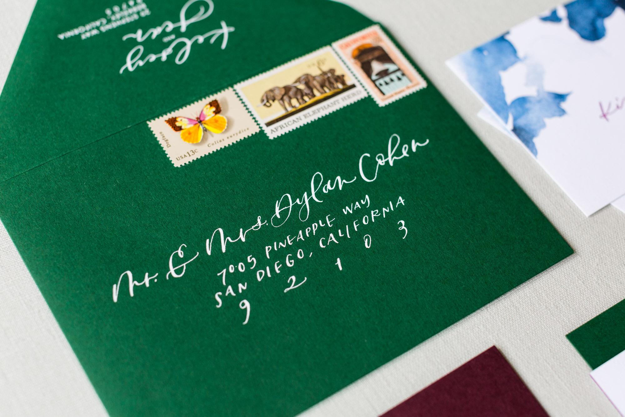 envelope calligraphy on green envelopes