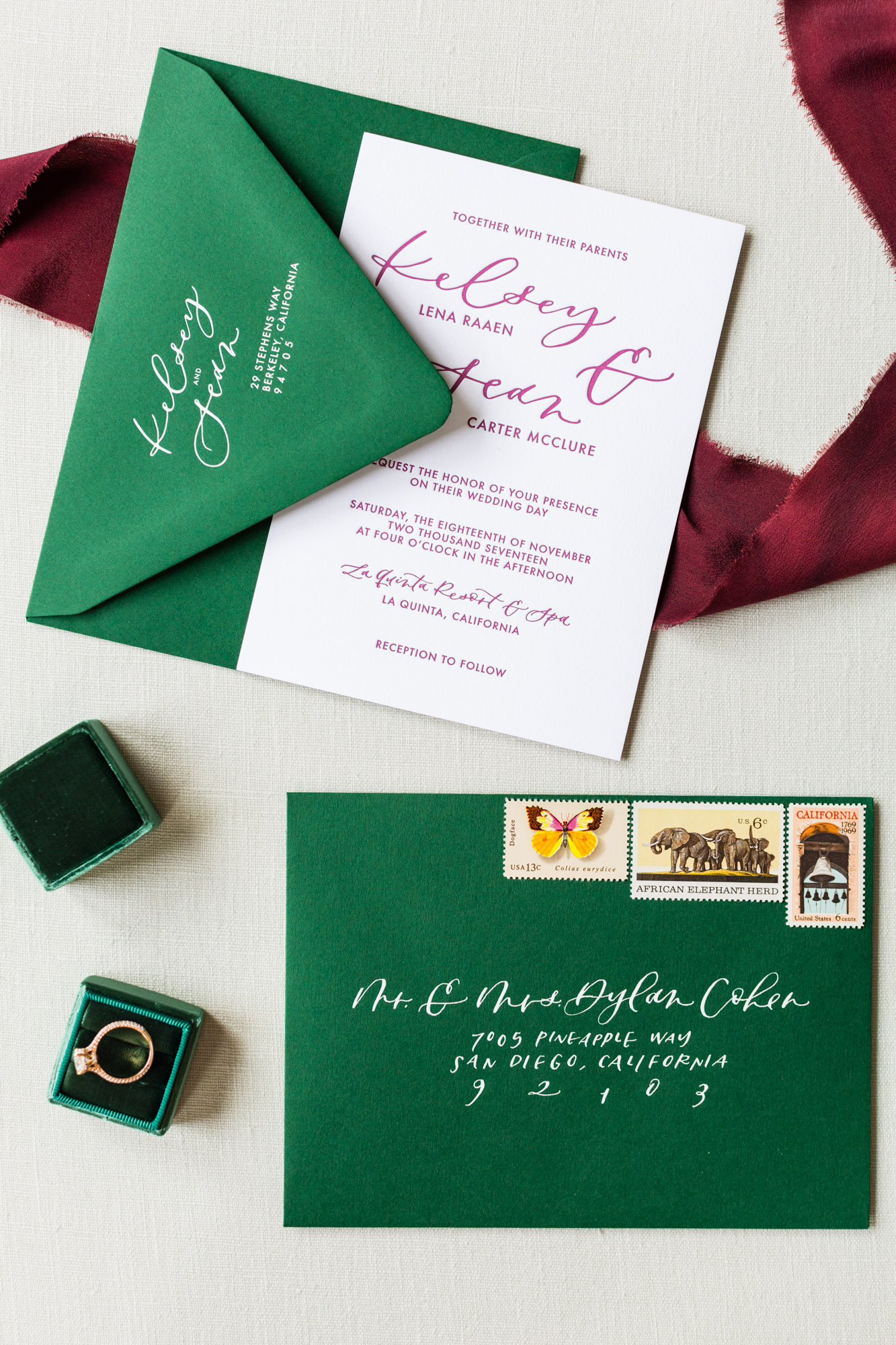 green and burgundy wedding letterpress invitations
