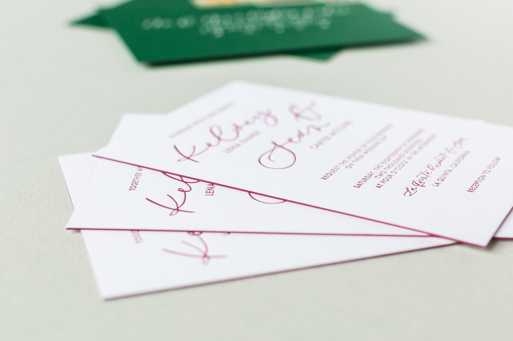 letterpress invitations with edge paint