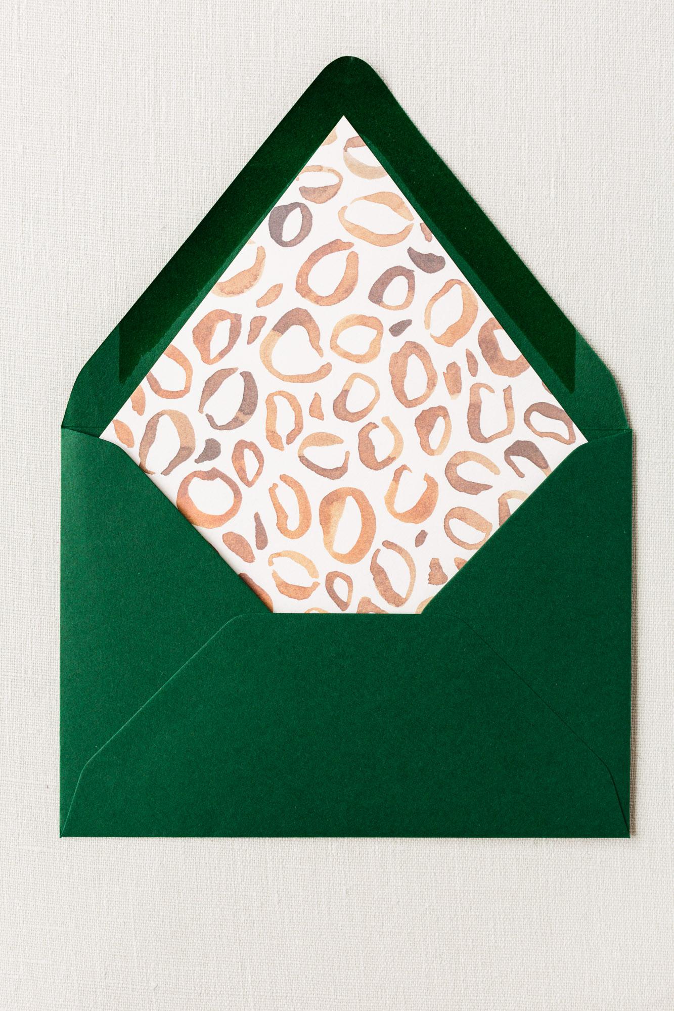 painted leopard envelope liner