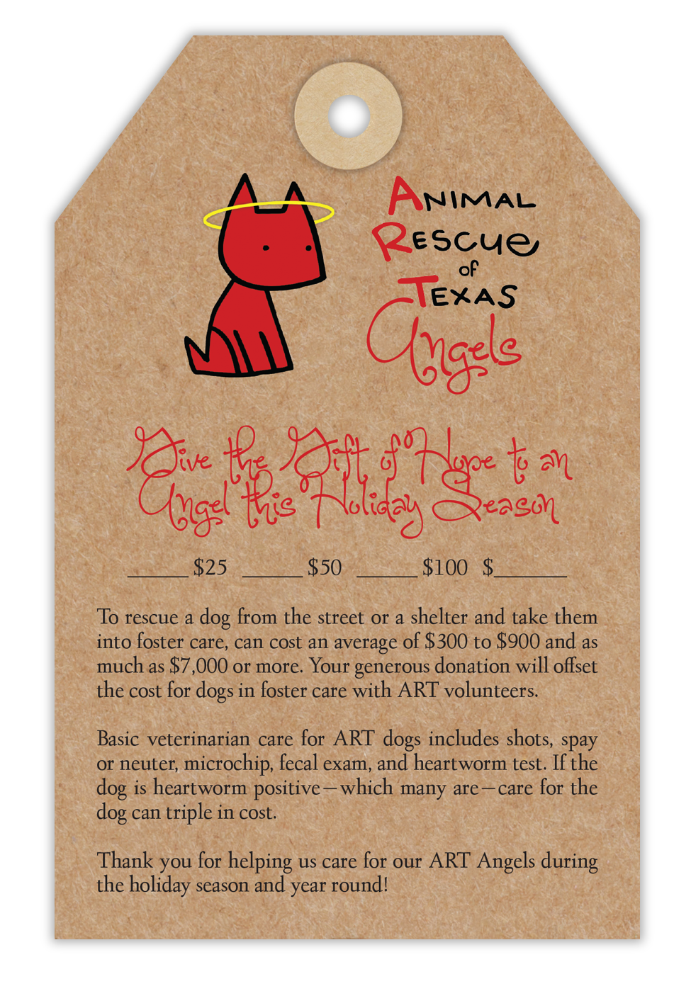 Animal Rescue of Texas Angel Tree Tags - Medical