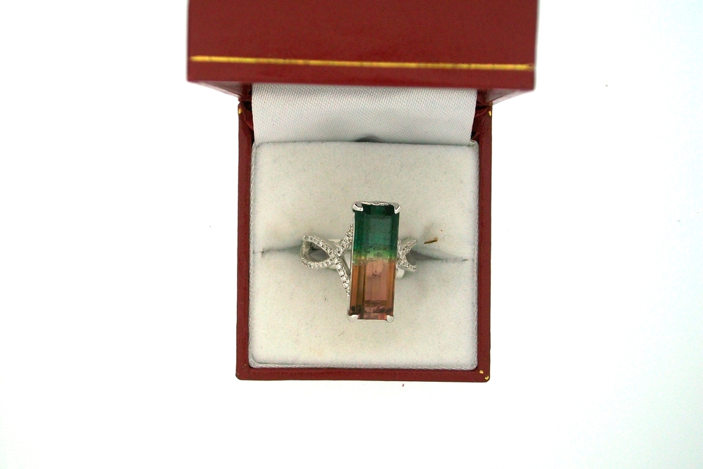 Watermelon Tourmaline Emerald Cut Ring With Diamonds Mines Finds Jewelry Etc