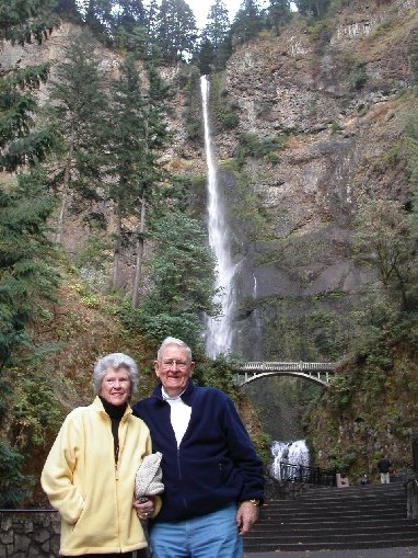 Ruth & Sandy Sanderson at Multanomah Falls, Columbia River Gorge, Oregon.
