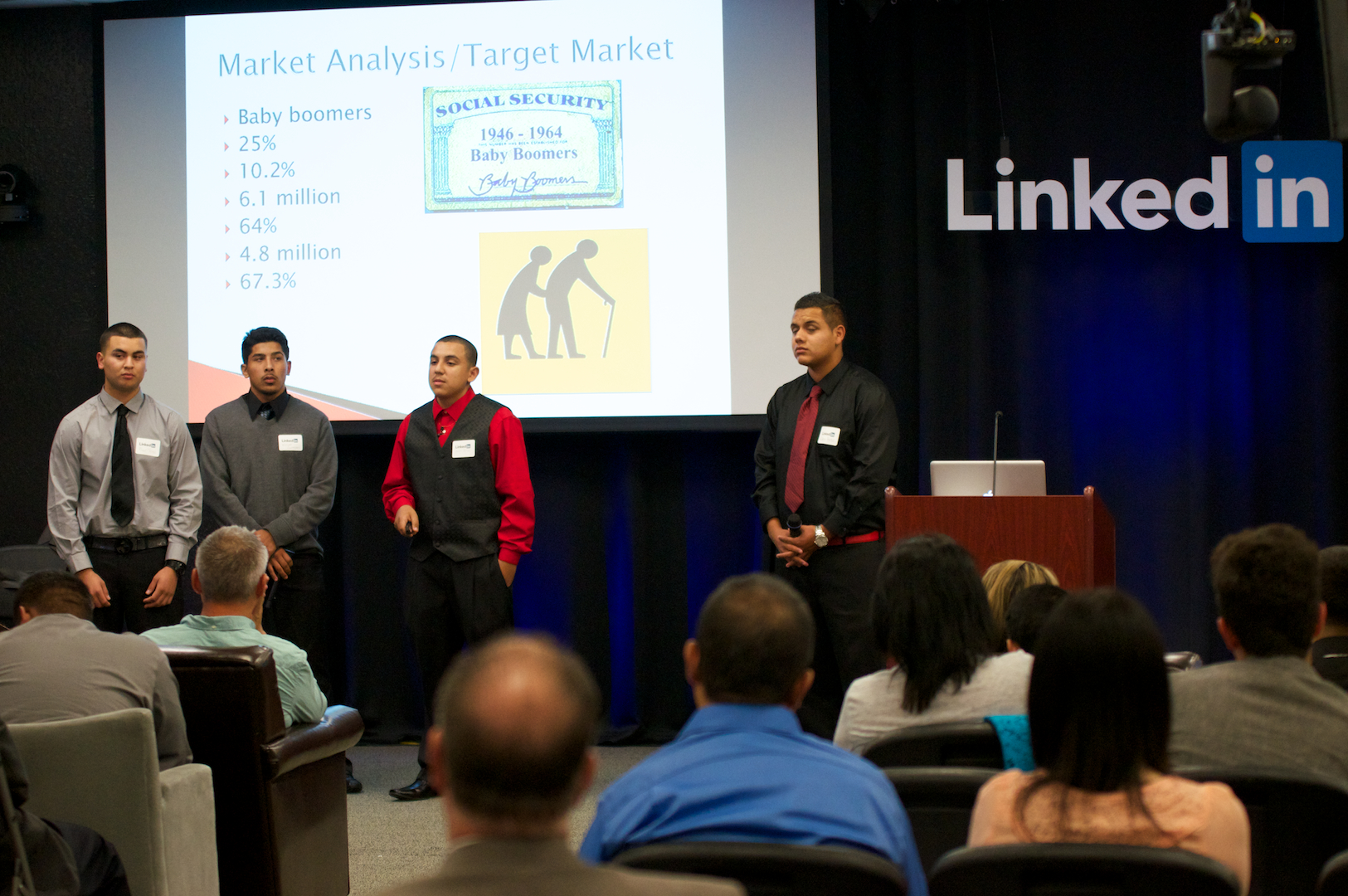 Canella Inc. presenting the cane umbrella product at Symposium of Ideas hosted at Linkedin Headquarters in Mt. View, Ca