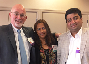 "Thomas Waring of GCW Capital Group and  Family & Business Directions , with Pharma ""Dita"" Sharma, founder of the University of Vermont event, and Tejas Shah, whose family business was a featured case study."