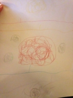 "The picture of Mars in various seasons drawn by our 5-year-old while listening to "" Maledetta"""