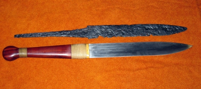 A seax and a reconstructed replica