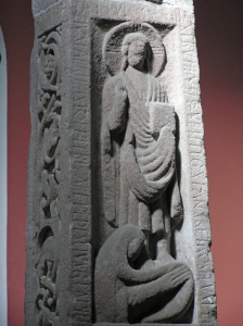 close-up of the Ruthwell Cross