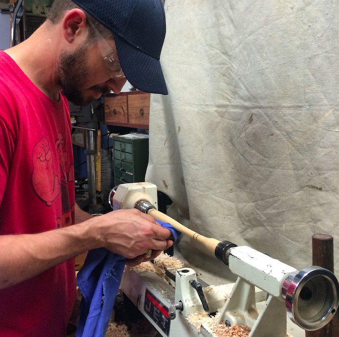 Jason practicing his newfound lathe knowledge on our fly swatters