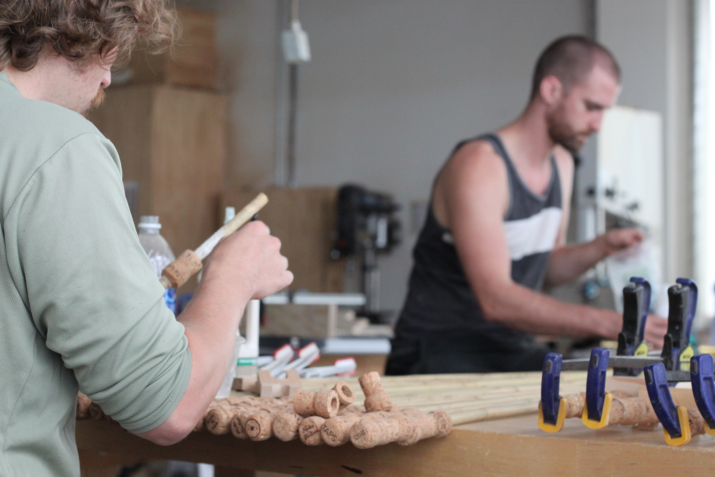 The bamboo walking sticks of Uphill Designs are made by hand in the Pratt Woodworking Studio