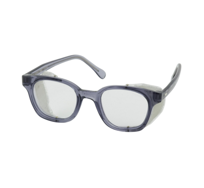 Safety Glasses - Traditional safety eyeware with smoke colored propionate full frame features anti-scratch/fog polycarbonate lens.