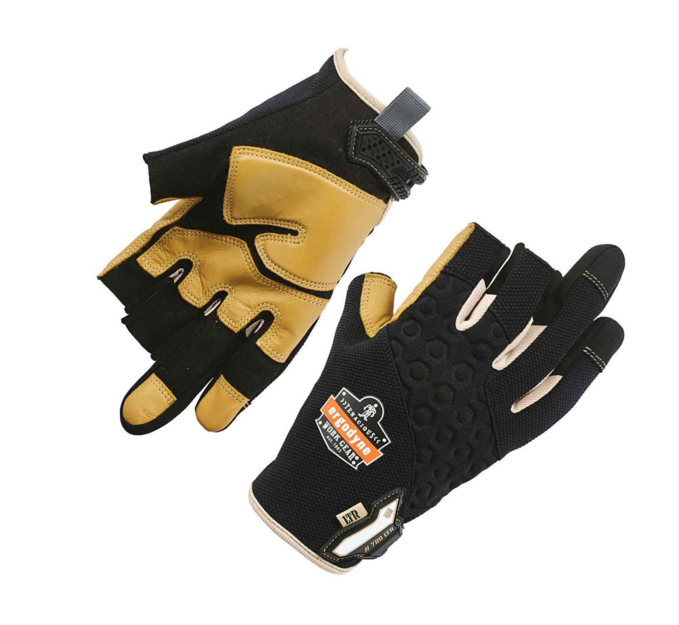 Work Glove - Fingertips, thumb saddle and palm areas are strengthened with leather material for increased glove life and durability throughout any job.