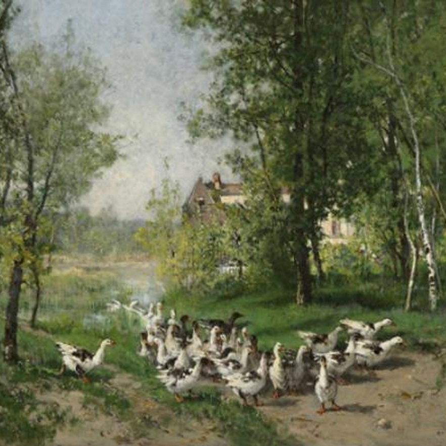 "Defaux - ""Flock of Geese, Montigny sur Loing"""