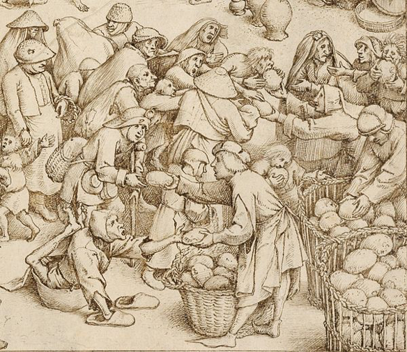 Feeding the hungry, detail from Caritas, The Seven Acts of Mercy, Pieter Bruegel the Elder, 1559