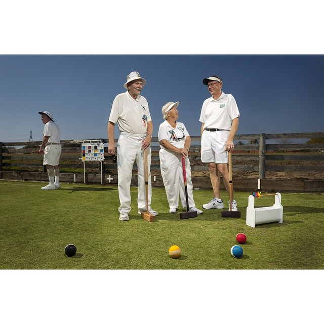 #ICauseBeautiful #Florida #stereotypes #retirement #seniorstereotype #TheVillages #Portrait #Photography #selfrealization #happiness Jim Klier, Barbara Hall, and Jery Vogler of The Villages Croquet Club play casually on a Sunday afternoon. Barbara Hall has since passed away. She was very active in the croquet community and also Was the founder of The Villages Cloud Chasers kite club @wanderluster800