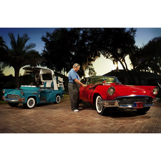 """#ICauseBeautiful #Florida #stereotypes #retirement #seniorstereotype #TheVillages #Portrait #Photography #selfrealization #happiness #tbird #57 #ford #classic @wanderluster800 """"The thing I liked about the thunderbird is I was around in 1957 when it came out and I was in college at the time. I really liked the design of the car. The T-Bird looked like a much smaller car, it was definitely a much sleeker car and I just thought it was something that I would like to have but it was way out of my price range at that time. So I waited 42 years until I had enough money after I retired to go out and actually buy one."""" Larry Dambrose, originally of Detroit, Michigan, who retired from business for designing for the IRS in Sterling, Virginia"""