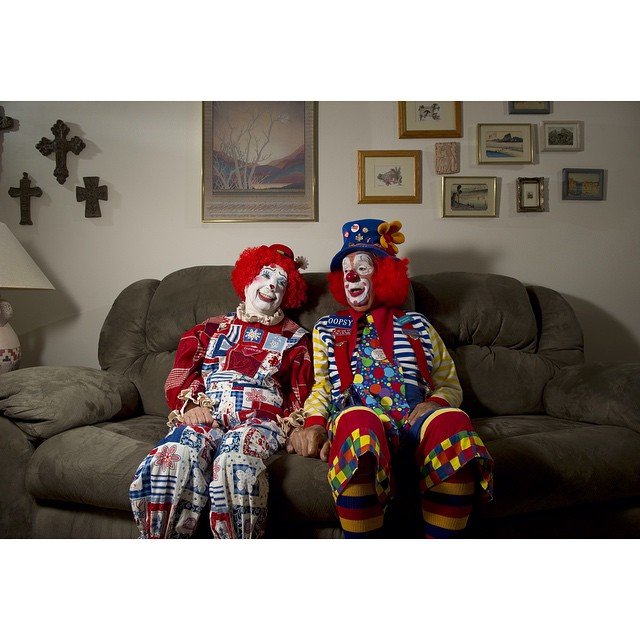 """#ICauseBeautiful #Florida #stereotypes #retirement #seniorstereotype #TheVillages #Portrait #Photography #selfrealization #happiness #clowns #makeup #facepaint #rednose #circus #sendintheclowns """"We moved here in 1999 and I was a little ad in the paper. It said 'Go to Clown School', and I told Jean 'That's what I'm going to do, I want to be a clown', and she said 'I do too!', and we've been clowns ever since Archie and his wife Jean Ernst, retired pharmacists from Cincinnati, Ohio"""