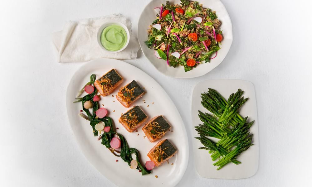 Dill Lemon Salmon, Quinoa Tabbouleh, Green Tahini and Roasted Asparagus