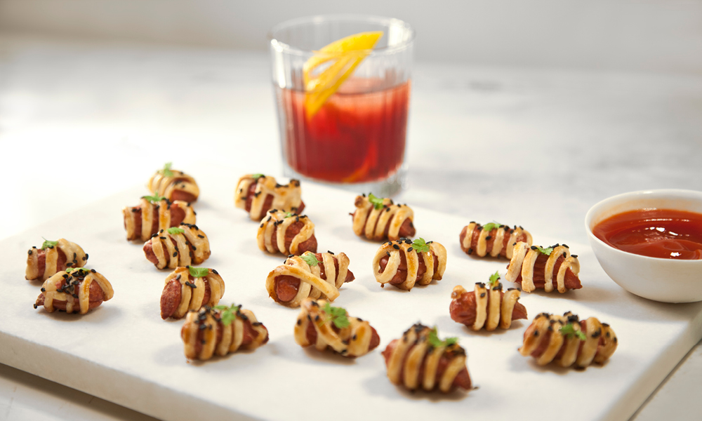 Nuhma's Pigs In A Blanket, Pomegranate Margarita