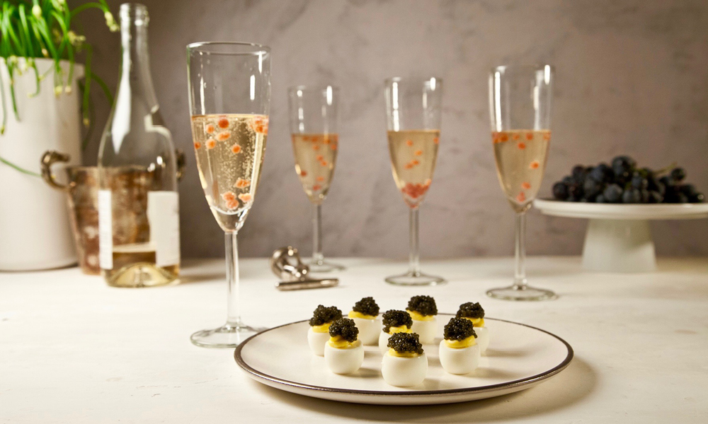 New Year's Champagne, Pomegranate Pearls and Deviled Quail Eggs, Caviar