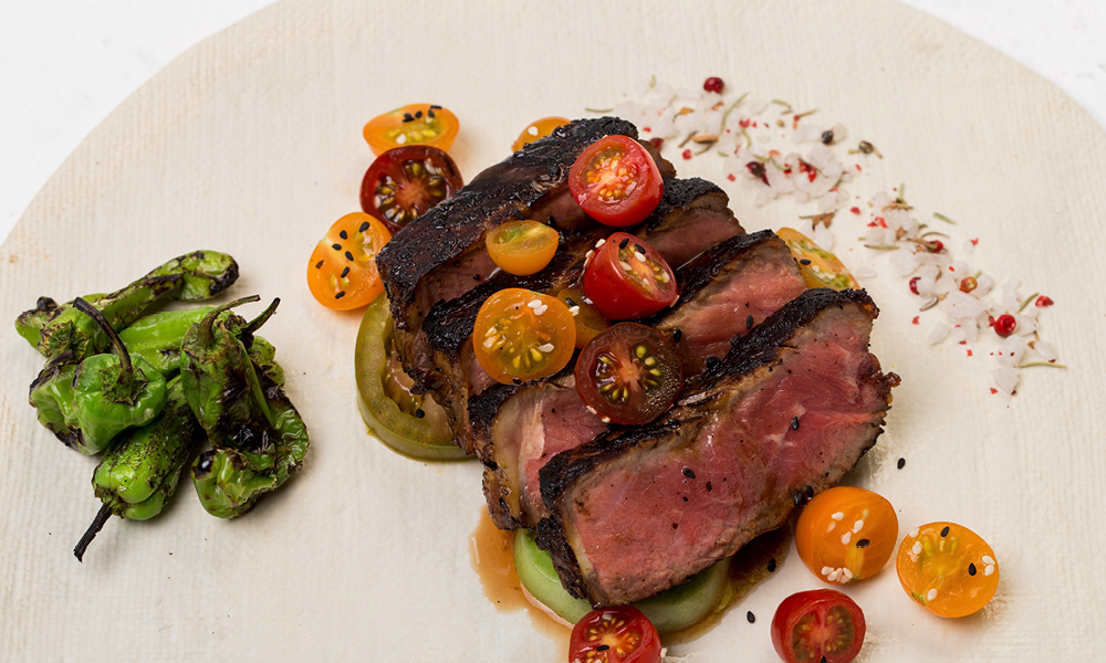 Dry Aged New York Strips, Macerated Cherry Tomatoes, Tamarind