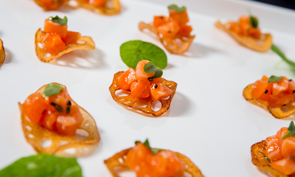 Salmon Tartare, Lotus Root Chip